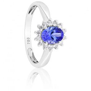 Bague, Or blanc 18K, Tanzanite & Diamants