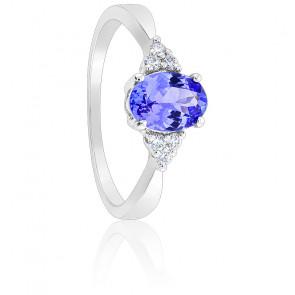 Bague, Or blanc 18K, Tanzanite Ovale & Diamants