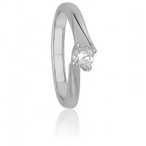 Solitaire griffes torsadées or blanc 9K & diamant 0,25 ct