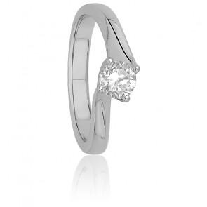Solitaire griffes torsadées or blanc 9K & diamant 0,50 ct