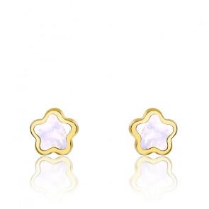 Boucles d'oreilles fleur or jaune & nacre