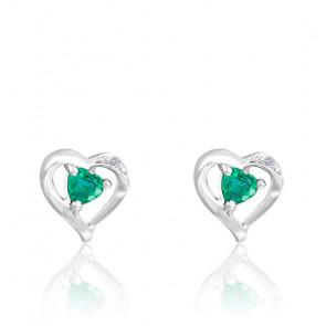 Boucles d'oreilles Cœur Emeraude & Diamant Or Blanc 18K