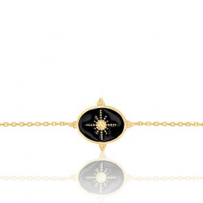 Bracelet plaqué or & émail noir