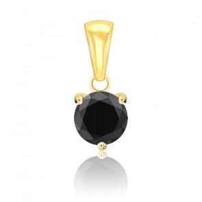 Pendentif Diamant Noir Or Jaune 18K