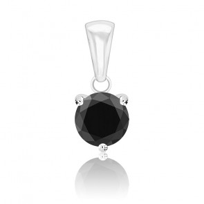 Pendentif Diamant Noir Or Blanc 18K