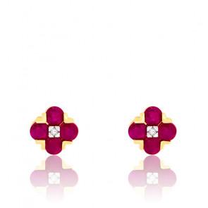 Boucles d'oreilles Fleurs Rubis & Diamant Or 18K