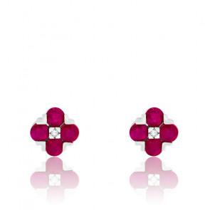 Boucles d'oreilles Fleurs Rubis & Diamant Or Blanc 18K