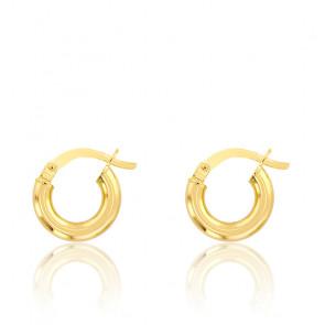 Créoles or jaune 18 carats, 6 mm, fil rond 2,50 mm