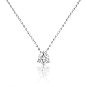 Collier diamant solitaire 3 griffes HSI & or blanc palladié