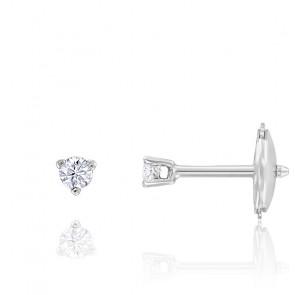 Puces d'oreilles diamant 3 griffes HSI & or blanc palladié