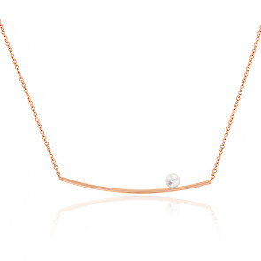 Collier Barre Perle & Or Rose 18K