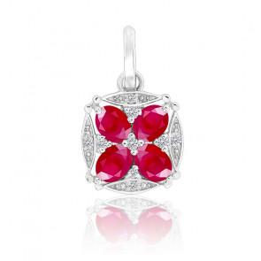 Pendentif Rosace Rubis & Diamants Or blanc 18K