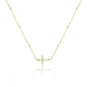 Collier Croix perles d'eau douce et Or Jaune 9K