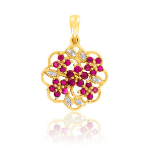 Pendentif Fleurs Rubis & Diamants Or 18K
