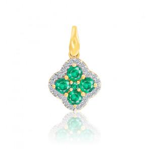 Pendentif Trèfle Emeraudes & Diamants Or 18K