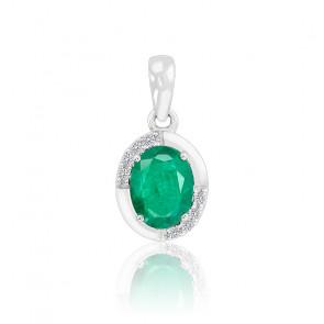 Pendentif Ovale Emeraude & Diamants Or blanc 18K