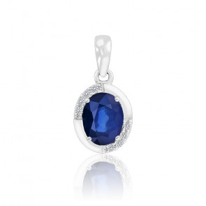 Pendentif Ovale Saphir & Diamants Or blanc 18K