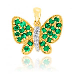 Pendentif Papillon Emeraudes & Diamants Or 18K