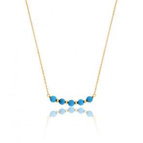 Collier Perles Turquoises Or Jaune 9K