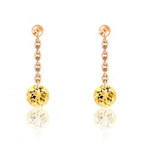 Boucles d'oreilles pendantes Saphir Jaune Percé & Or rose 18K