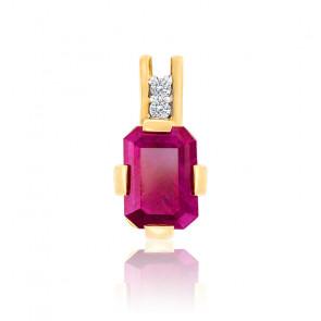 Pendentif Graphique Rubis & Diamants Or 18K