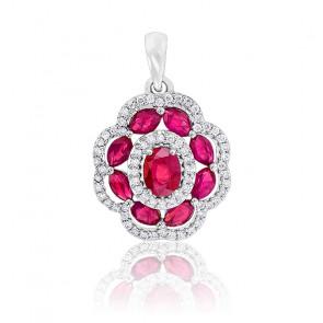Pendentif Fleur Rubis & Diamants Or blanc 18K
