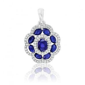 Pendentif Fleur Saphirs & Diamants Or blanc 18K