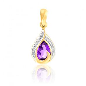Pendentif Poire Améthyste & Diamants Or 18K