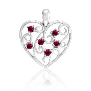 Pendentif Cœur Arabesques Rubis Or blanc 18K