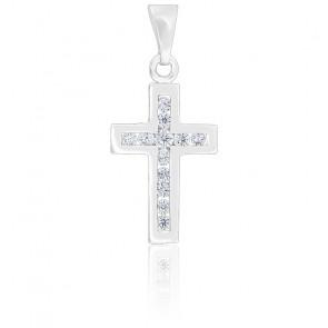 Pendentif Croix Moderne Or blanc 18K