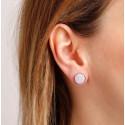 Boucles d'oreilles rondes bouton nacre blanche