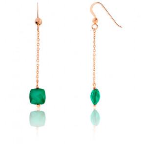 Boucles d'oreilles pendantes, quartz vert et chaîne plaqué or rose
