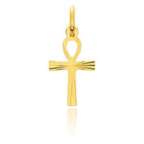 Croix de Vie striée 10 x 17 mm Or Jaune 18K