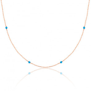 Collier chaine perlée turquoise plaqué or rose