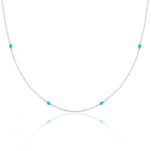 Collier chaine perlée turquoise argent