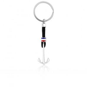 Porte-clés ancre marine & cordon noir
