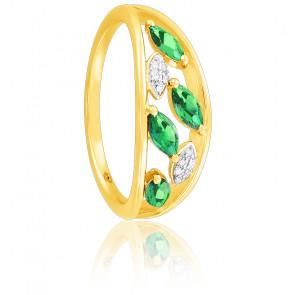 Bague, Or jaune 18k, Grenats Verts & Diamants