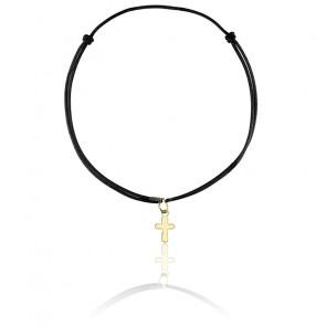 Bracelet cordon croix noir plaqué or