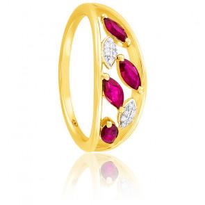 Bague, Or jaune 18k, Rubis & Diamants