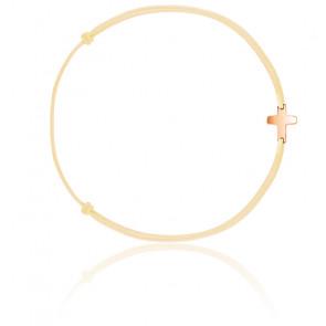 Bracelet cordon croix plaqué or rose
