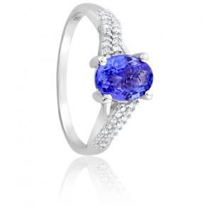 Bague Tanzanite Ovale & Diamants Or blanc 18K