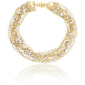 Bracelet chaines perlées multiples plaqué or