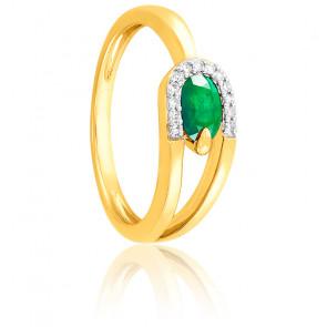Bague Emeraude & Diamants Or jaune 18K