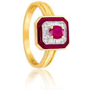 Bague Rectangulaire Rubis & Diamants Or 18K