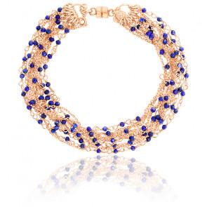 Bracelet chaines perlées multiples plaqué or rose