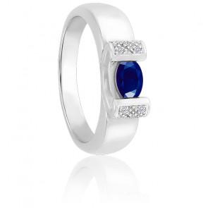 Bague Moderne Saphir & Diamants Or blanc 18K