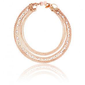 Bracelet chaines multiples plaqué or rose