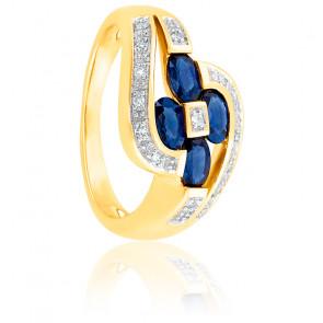 Bague Fleur Entrelacée Saphirs & Diamants Or 18K