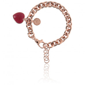 Bracelet Chaine Coeur Agate rouge