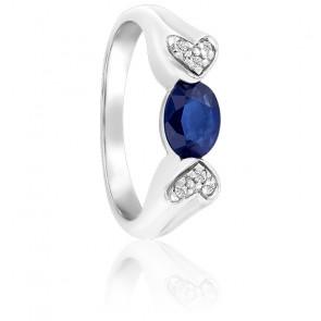 Bague Cœurs Saphir & Diamants Or Blanc 18K